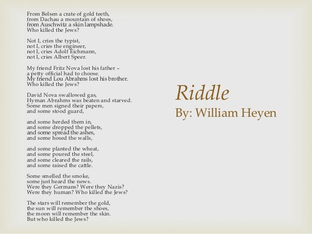 English 30-1 Riddle Poetry Analysis