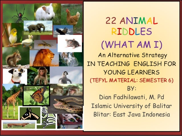 22 ANIMAL RIDDLES (WHAT AM I) An Alternative Strategy IN TEACHING ENGLISH FOR YOUNG LEARNERS (TEFYL MATERIAL: SEMESTER 6) ...