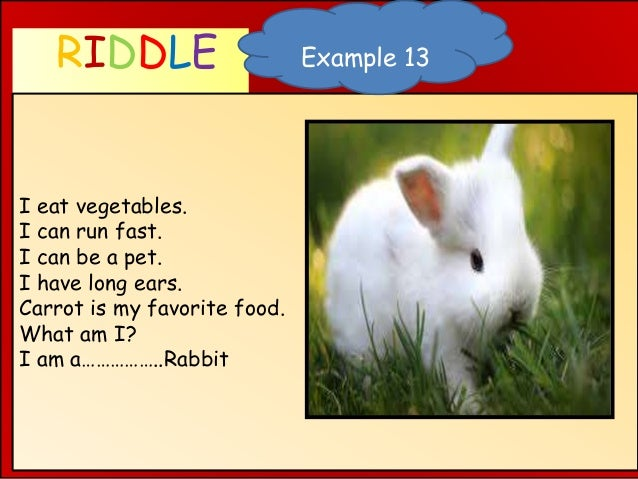 RIDDLE WHAT AM I ? I eat vegetables. I can run fast. I can be a pet. I have long ears. Carrot is my favorite food. What am...