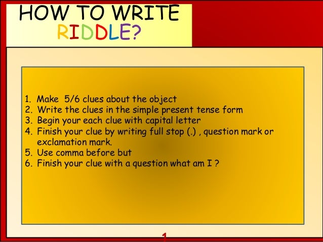 writing riddles It seems to me that children nowadays never listen to riddles  to improve writing through riddles  blog de cristina is also on facebook.