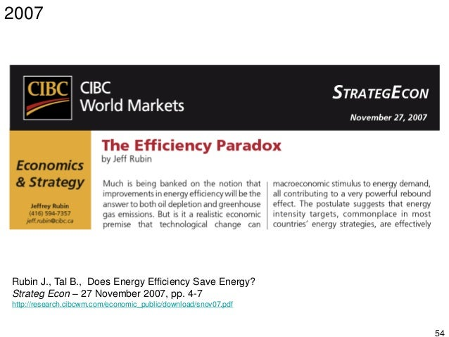 55 Rubin J., Tal B., Does Energy Efficiency Save Energy? Strateg Econ – 27 November 2007, pp. 4-7 http://research.cibcwm.c...