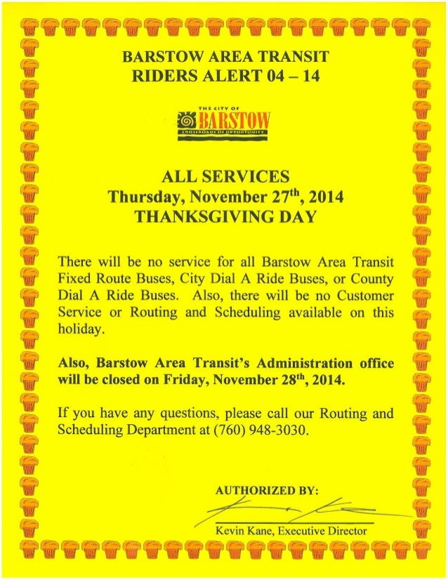 Barstow Area Transit Closed Thanksgiving, November 27, 2014