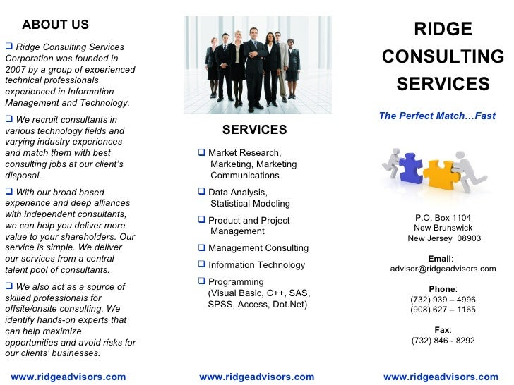 RIDGE CONSULTING SERVICES <ul><li>Ridge Consulting Services Corporation was founded in 2007 by a group of experienced tech...