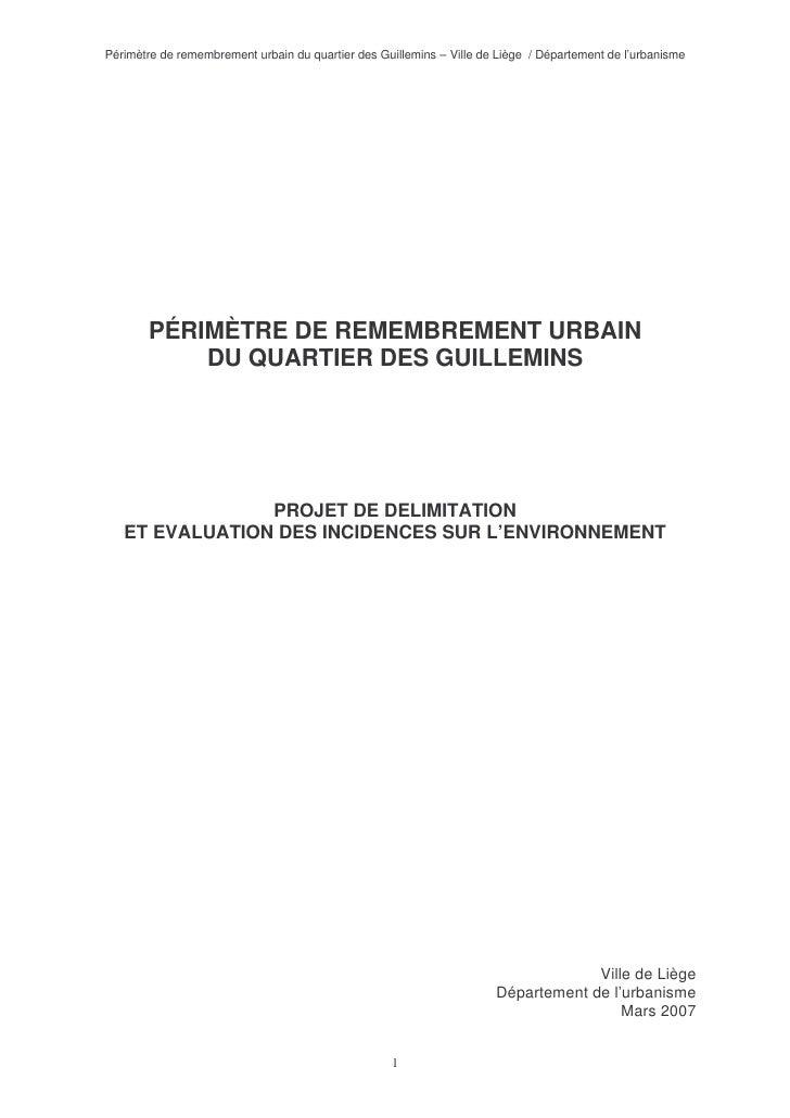 Périmètre de remembrement urbain du quartier des Guillemins – Ville de Liège / Département de l'urbanisme            PÉRIM...