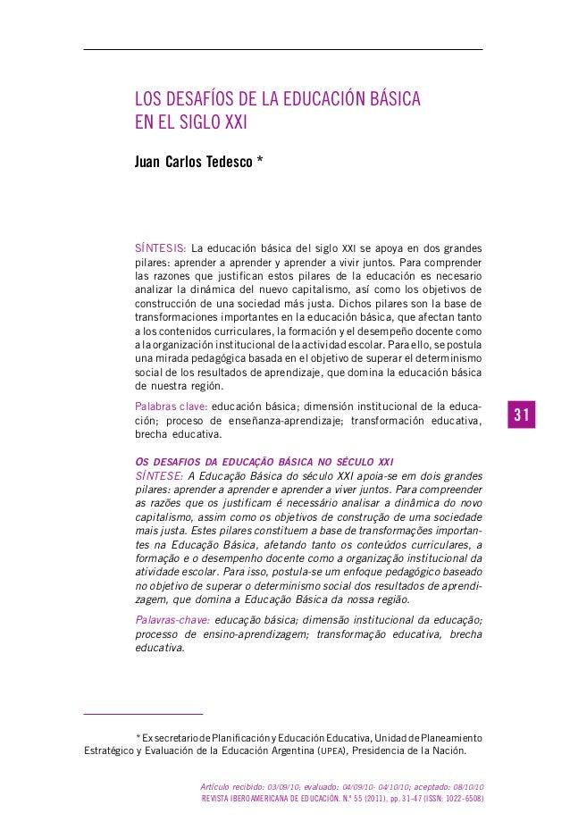 REVISTA IBEROAMERICANA DE EDUCACIÓN. N.º 55 (2011), pp. 31-47 (ISSN: 1022-6508) 3131 Artículo recibido: 03/09/10; evaluado...
