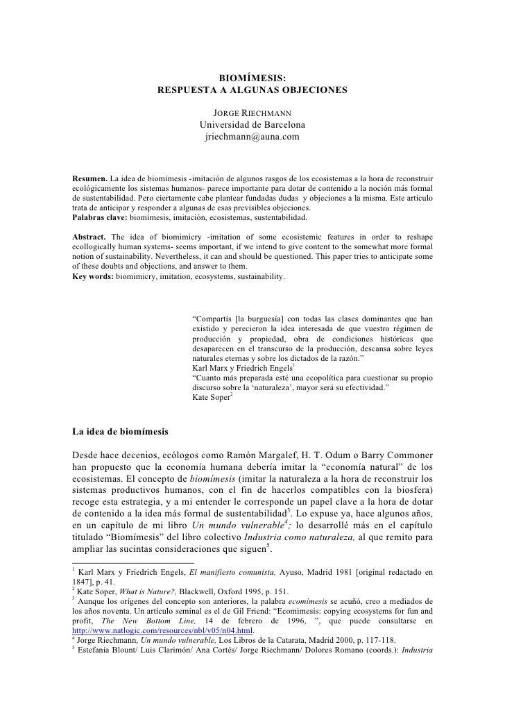 Riechmann biomímesis-objeciones