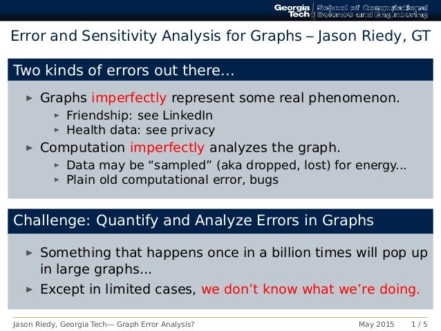 Error and Sensitivity Analysis for Graphs – Jason Riedy, GT Two kinds of errors out there... Graphs imperfectly represent ...