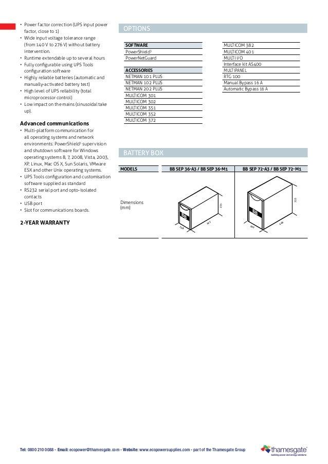 Ecopowersupplies: Riello sentinel-pro-ups-datasheet