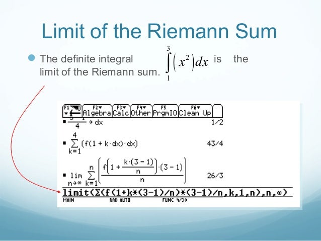 how to get definite integral from riemann sum
