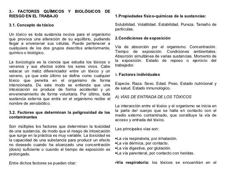 3.- FACTORES QUÍMICOS            Y   BIOLÓGICOS      DERIESGO EN EL TRABAJO                                        1.Propi...