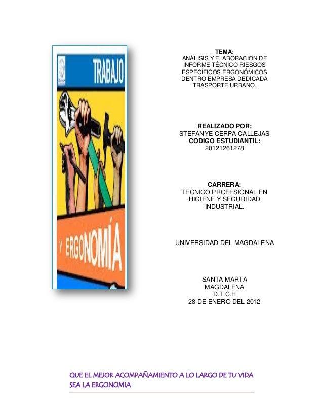 TEMA:                             ANÁLISIS Y ELABORACIÓN DE                             INFORME TÉCNICO RIESGOS           ...