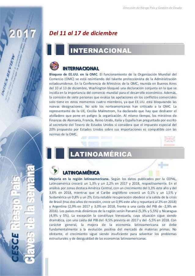 Dirección de Riesgo País y Gestión de Deuda Del 11 al 17 de diciembre IIINNNTTTEEERRRNNNAAACCCIIIOOONNNAAALLL Bloqueo de E...