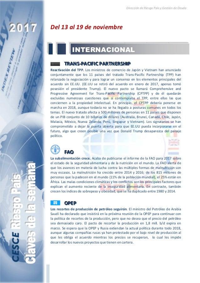 Dirección de Riesgo País y Gestión de Deuda Del 13 al 19 de noviembre TTTRRRAAANNNSSS---PPPAAACCCIIIFFFIIICCC PPPAAARRRTTT...