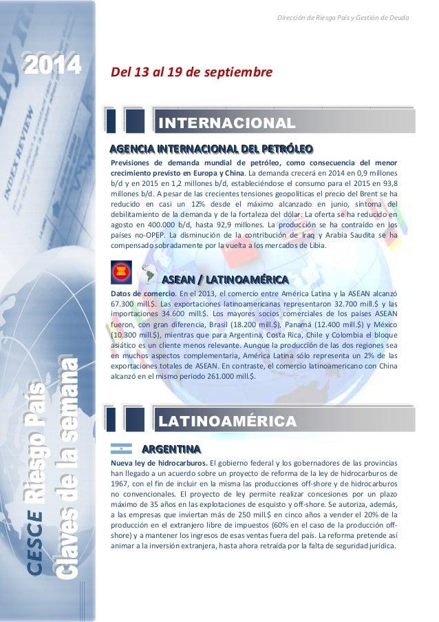Dirección de Riesgo País y Gestión de Deuda  Del 13 al 19 de septiembre  INTERNACIONAL  AAAGGGEEENNNCCCI IIAAA IIINNNTTTEE...