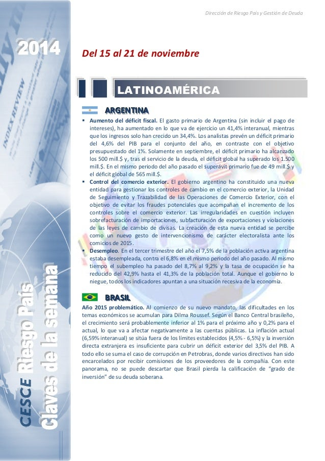 Dirección de Riesgo País y Gestión de Deuda  Del 15 al 21 de noviembre  LATINOAMÉRICA  AAARRRGGGEEENNNTTTIIINNNAAA   Aumen...