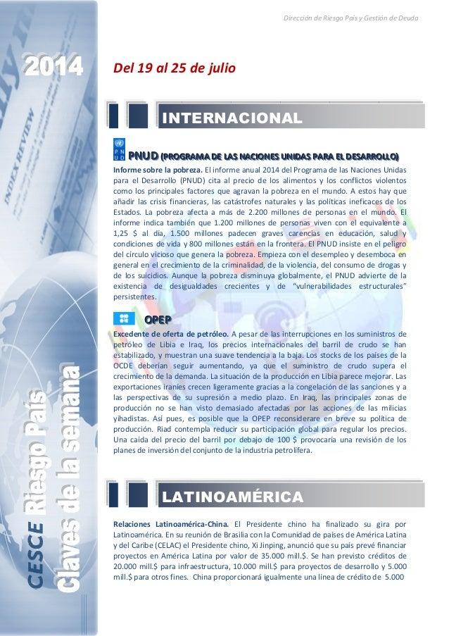 Dirección de Riesgo País y Gestión de Deuda Del 19 al 25 de julio PPPNNNUUUDDD (((PPPRRROOOGGGRRRAAAMMMAAA DDDEEE LLLAAASS...