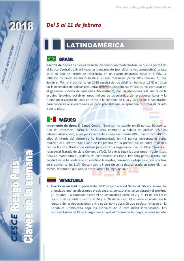 Dirección de Riesgo País y Gestión de Deuda Del 5 al 11 de febrero BBBRRRAAASSSIIILLL Recorte de tipos. Los niveles de inf...