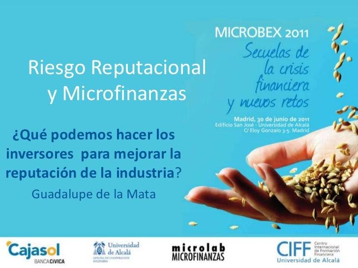Riesgo Reputacionaly Microfinanzas<br />¿Qué podemos hacer los inversores  para mejorar la reputación de la industria?<br ...