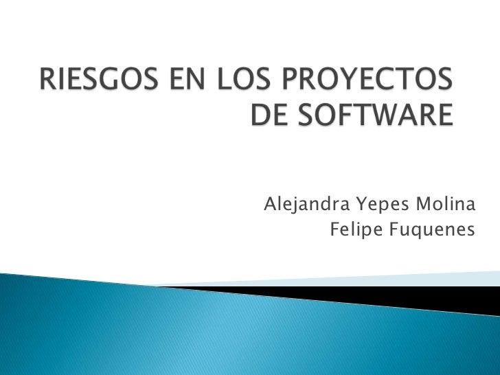 RIESGOS EN LOS PROYECTOS DE SOFTWARE<br />Alejandra Yepes Molina<br />Felipe Fuquenes<br />