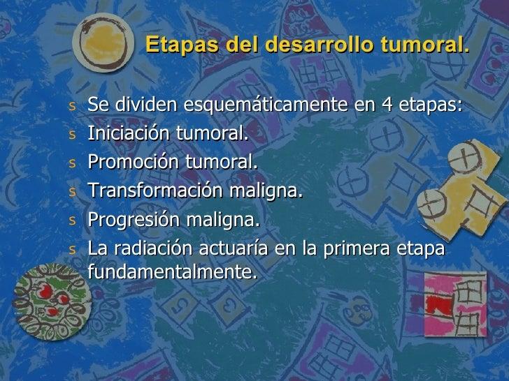Etapas del desarrollo tumoral. <ul><li>Se dividen esquemáticamente en 4 etapas: </li></ul><ul><li>Iniciación tumoral. </li...