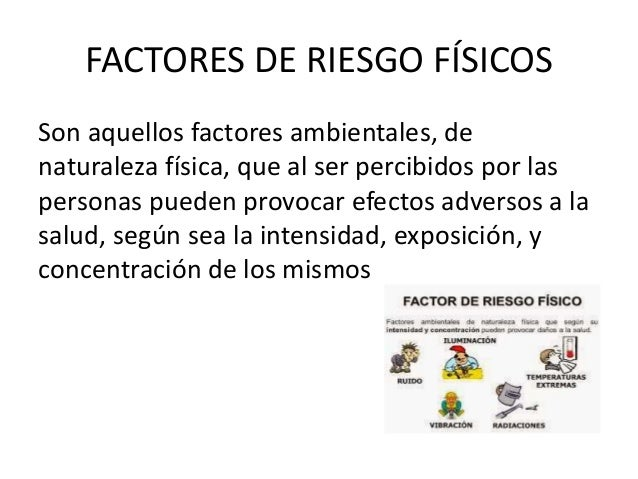 FACTORES DE RIESGO FÍSICOS Son aquellos factores ambientales, de naturaleza física, que al ser percibidos por las personas...