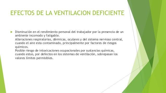 EFECTOS DE LA VENTILACION DEFICIENTE  Disminución en el rendimiento personal del trabajador por la presencia de un ambien...