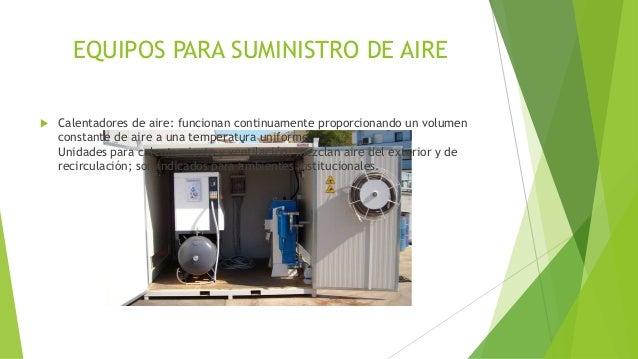 EQUIPOS PARA SUMINISTRO DE AIRE  Calentadores de aire: funcionan continuamente proporcionando un volumen constante de air...