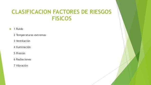 CLASIFICACION FACTORES DE RIESGOS FISICOS  1 Ruido 2 Temperaturas extremas 3 Ventilación 4 Iluminación 5 Presión 6 Radiac...