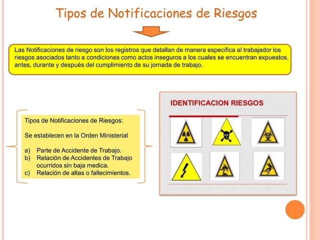 Tipos de Notificaciones de Riesgos Las Notificaciones de riesgo son los registros que detallan de manera especifica al tra...