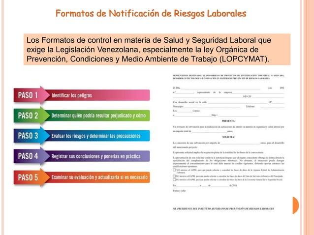 Formatos de Notificación de Riesgos Laborales Los Formatos de control en materia de Salud y Seguridad Laboral que exige la...