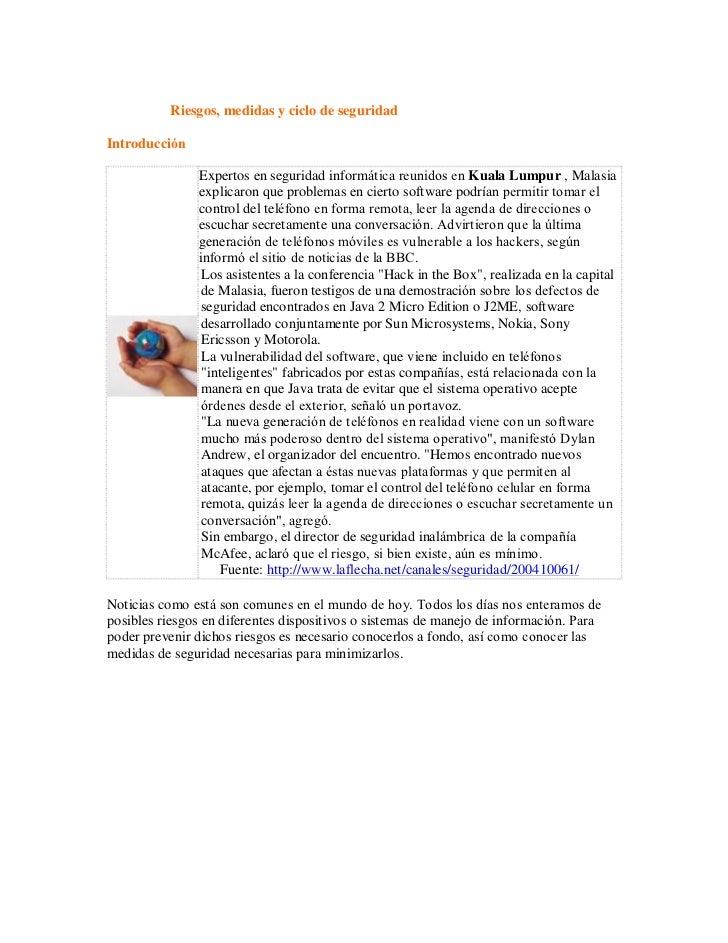 Riesgos, medidas y ciclo de seguridadIntroducción              Expertos en seguridad informática reunidos en Kuala Lumpur ...