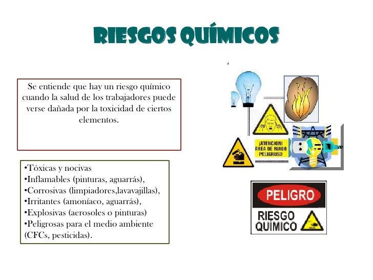 RIESGOS QUÍMICOS<br />Se entiende que hay un riesgo químico cuando la salud de los trabajadores puede verse dañada por la ...
