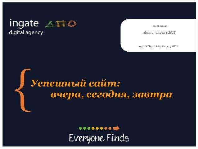 Успешный сайт:вчера, сегодня, завтраДата: апрель 2013РиФ+КиБIngate Digital Agency  2013