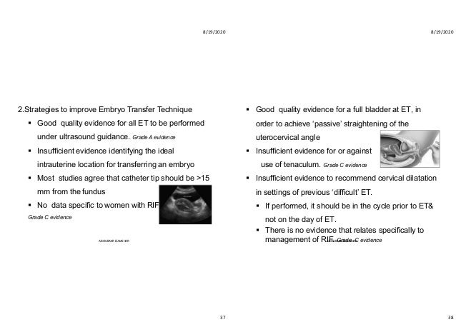 8/19/2020 37 2.Strategies to improve Embryo Transfer Technique  Good quality evidence for all ET to be performed under ul...