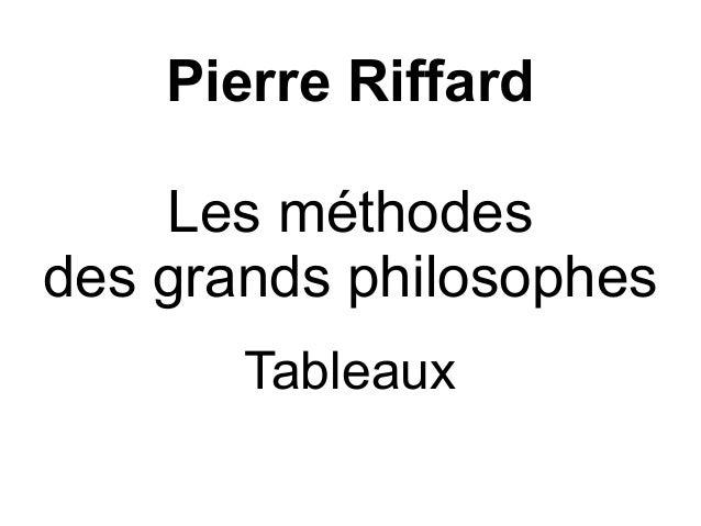 Pierre Riffard Les méthodes des grands philosophes Tableaux