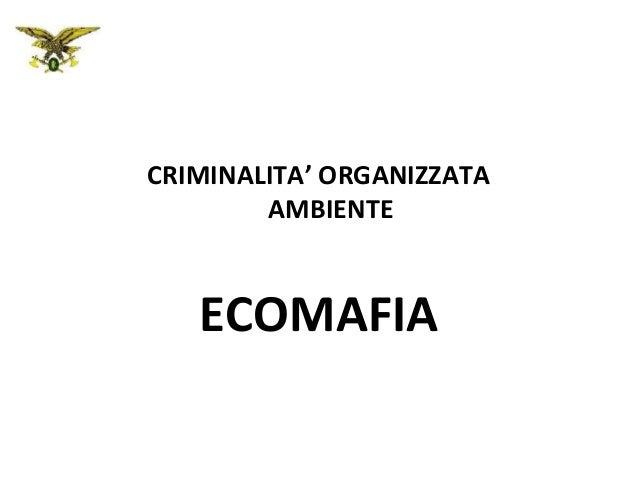 CRIMINALITA' ORGANIZZATA AMBIENTE  ECOMAFIA