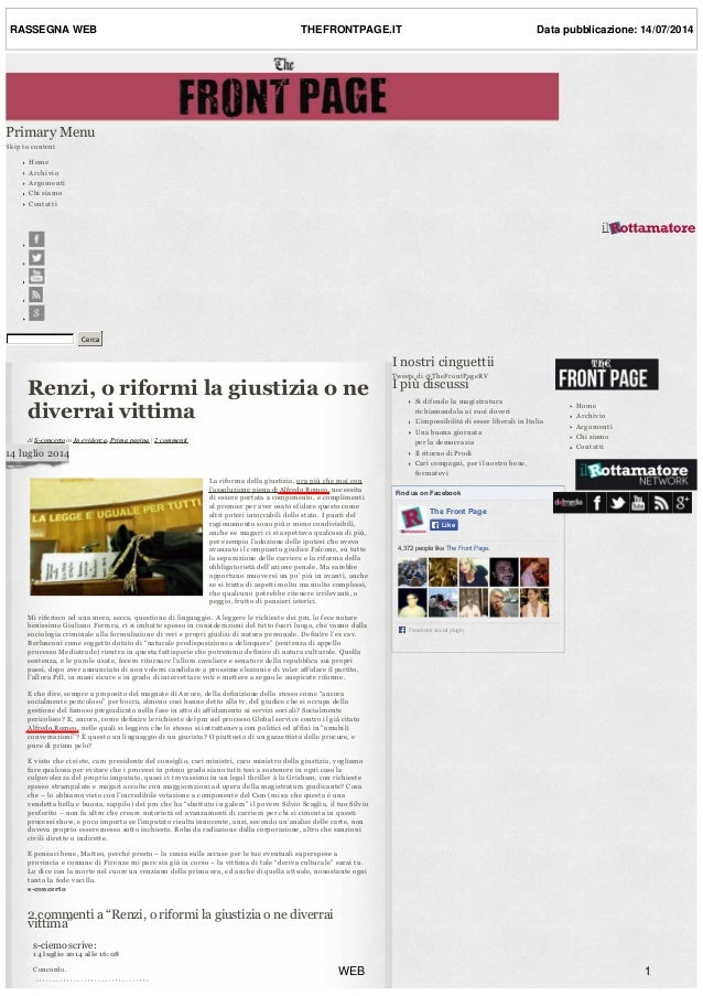 Renzi,oriformilagiustiziaone diverraivittima diSconcertoinInevidenza,Primapagina|2commenti 14luglio2014...