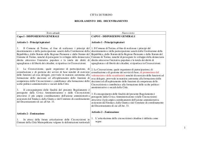 1 CITTA' DI TORINO REGOLAMENTO DEL DECENTRAMENTO Testo attuale Nuovo testo Capo I - DISPOSIZIONI GENERALI Articolo 1 - Pri...