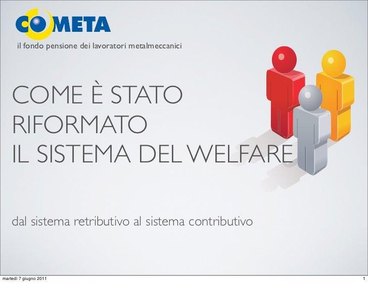 il fondo pensione dei lavoratori metalmeccanici    COME È STATO    RIFORMATO    IL SISTEMA DEL WELFARE    dal sistema retr...