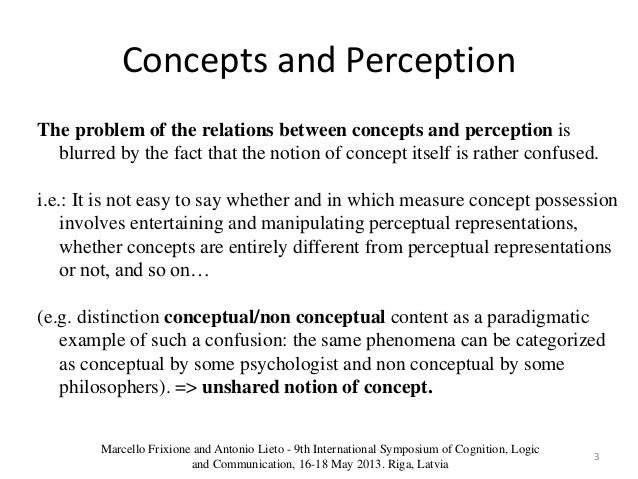 the concept of the perception process Perception: concept, process and distortion concept: perception is another most important aspect of life of organization many problems of the organisation and that of its members may be traced to the distortion in perception perception means the ability to perceive ie understanding or knowledge, mental grasp of qualities by means of senses or awareness.