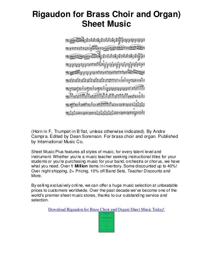 All Music Chords brass choir sheet music : Rigaudon for brass choir and organ sheet music