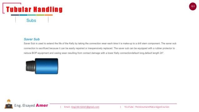 101 | Email : Eng20072007@gmail.com | YouTube : PetroleumandNaturalgasCoursesEng. Elsayed Amer Subs Tubular Handling