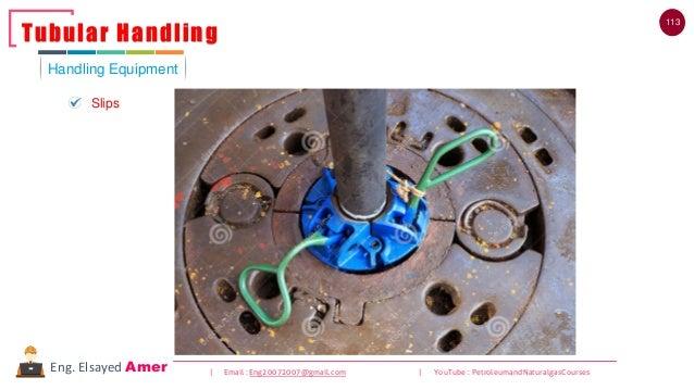 113 | Email : Eng20072007@gmail.com | YouTube : PetroleumandNaturalgasCoursesEng. Elsayed Amer Handling Equipment Tubular ...