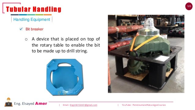 125 | Email : Eng20072007@gmail.com | YouTube : PetroleumandNaturalgasCoursesEng. Elsayed Amer Handling Equipment Tubular ...