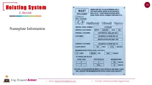 29 | Email : Eng20072007@gmail.com | YouTube : PetroleumandNaturalgasCoursesEng. Elsayed Amer Nameplate Information Hoisti...