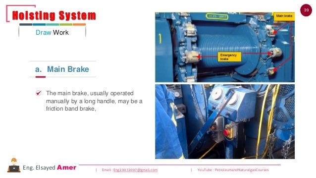 39 | Email : Eng20072007@gmail.com | YouTube : PetroleumandNaturalgasCoursesEng. Elsayed Amer a. Main Brake The main brake...