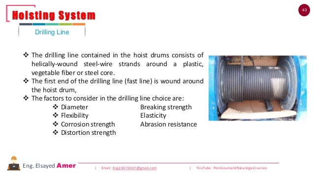 43 | Email : Eng20072007@gmail.com | YouTube : PetroleumandNaturalgasCoursesEng. Elsayed Amer ❖ The drilling line containe...