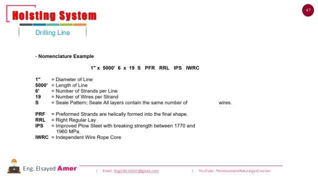 47 | Email : Eng20072007@gmail.com | YouTube : PetroleumandNaturalgasCoursesEng. Elsayed Amer Drilling Line Hoisting Syste...