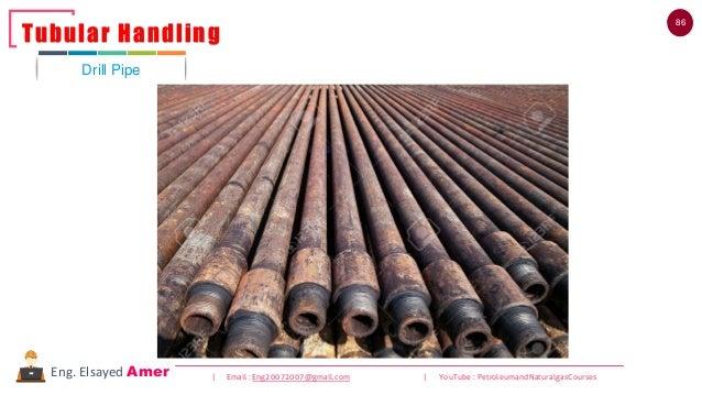 86 | Email : Eng20072007@gmail.com | YouTube : PetroleumandNaturalgasCoursesEng. Elsayed Amer Drill Pipe Tubular Handling