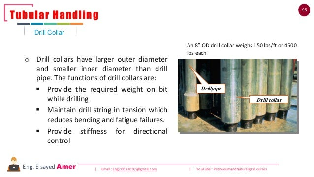 95 | Email : Eng20072007@gmail.com | YouTube : PetroleumandNaturalgasCoursesEng. Elsayed Amer o Drill collars have larger ...